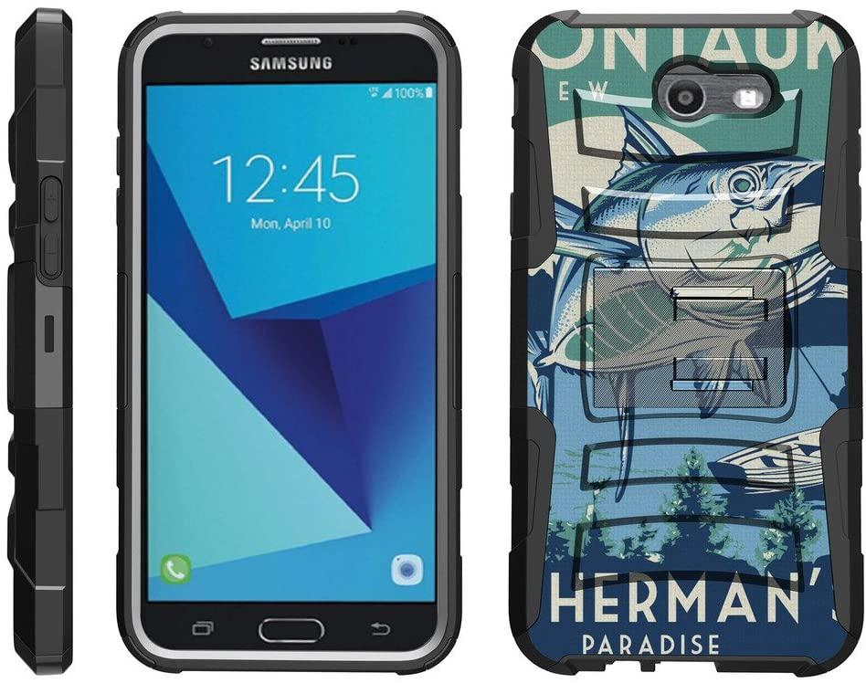 TurtleArmor | Compatible with Samsung Galaxy J7 2017 Case | J7 Prime | J7 Sky Pro [Hyper Shock] Hybrid Dual Layer Armor Holster Belt Clip Case Kickstand - Lake Fishing