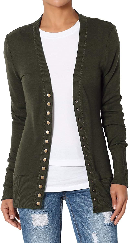 TheMogan Women's Snap Button V-Neck Long Sleeve Knit Cardigan Olive 1XL
