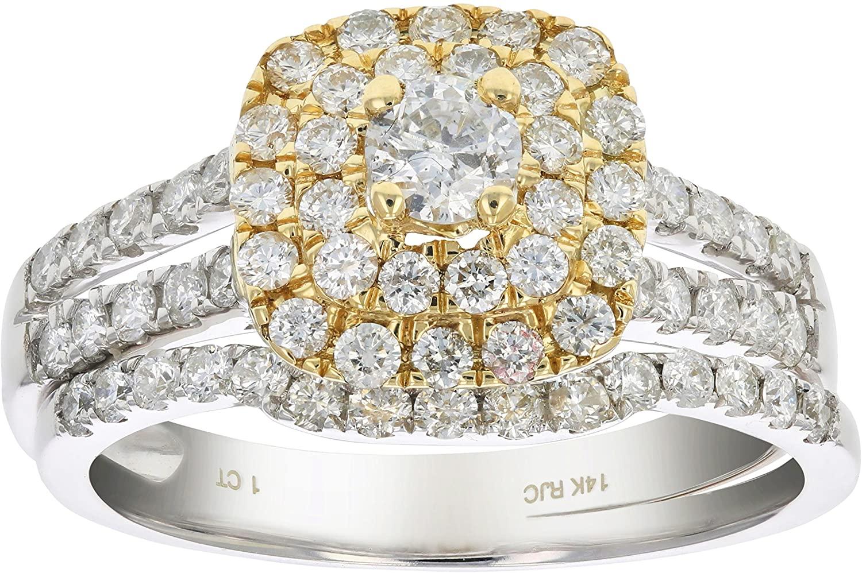 1 cttw Diamond Wedding Bridal Ring Set 14K Two Tone Gold Cushion Halo Engagement