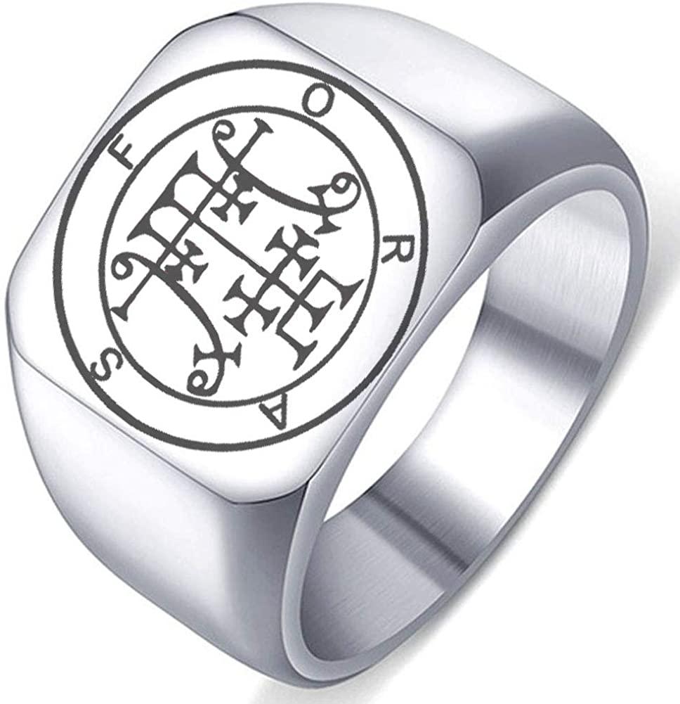 Laser Engraved Demon Foras Goetic Seal Lesser Key of King Solomon Stainless Steel Ring