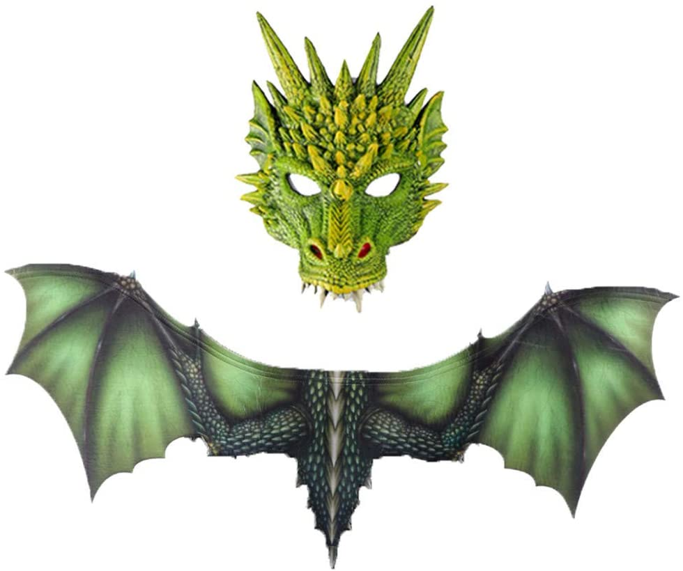 Lomsarsh Fantasy Halloween Dinosaurio Dragon Costume Cosplay Animal Wing Accessory, Halloween Cosplay Dinosaur Wings + Dragon Màsc, Perfect for Daily, Halloween, Theme Party, Cosplay, Great Gift