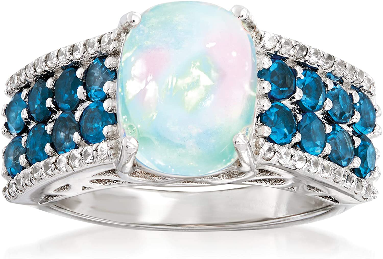Ross-Simons 10x8mm Opal, 13.00 ct. t.w. Lodon Blue Topaz and .20 ct. t.w. White Zircon Ring in Sterling Silver