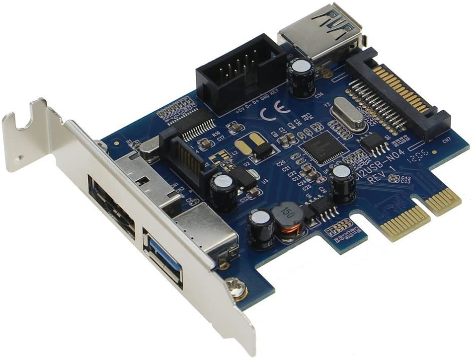 SEDNA - PCI Express 2 Port USB 3.0 + 1 Port PeSATA Adapter with Low Profile Bracket - (NEC/Renesas uPD720202 chipset) - SATA Power Connector