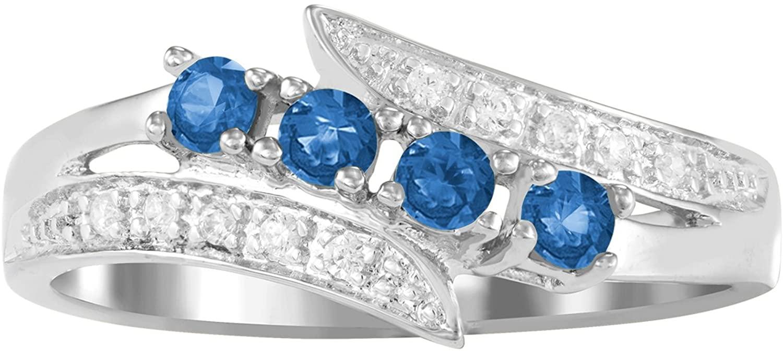 ArtCarved Starlight Custom Simulated Birthstone Women's Ring, Sterling Silver
