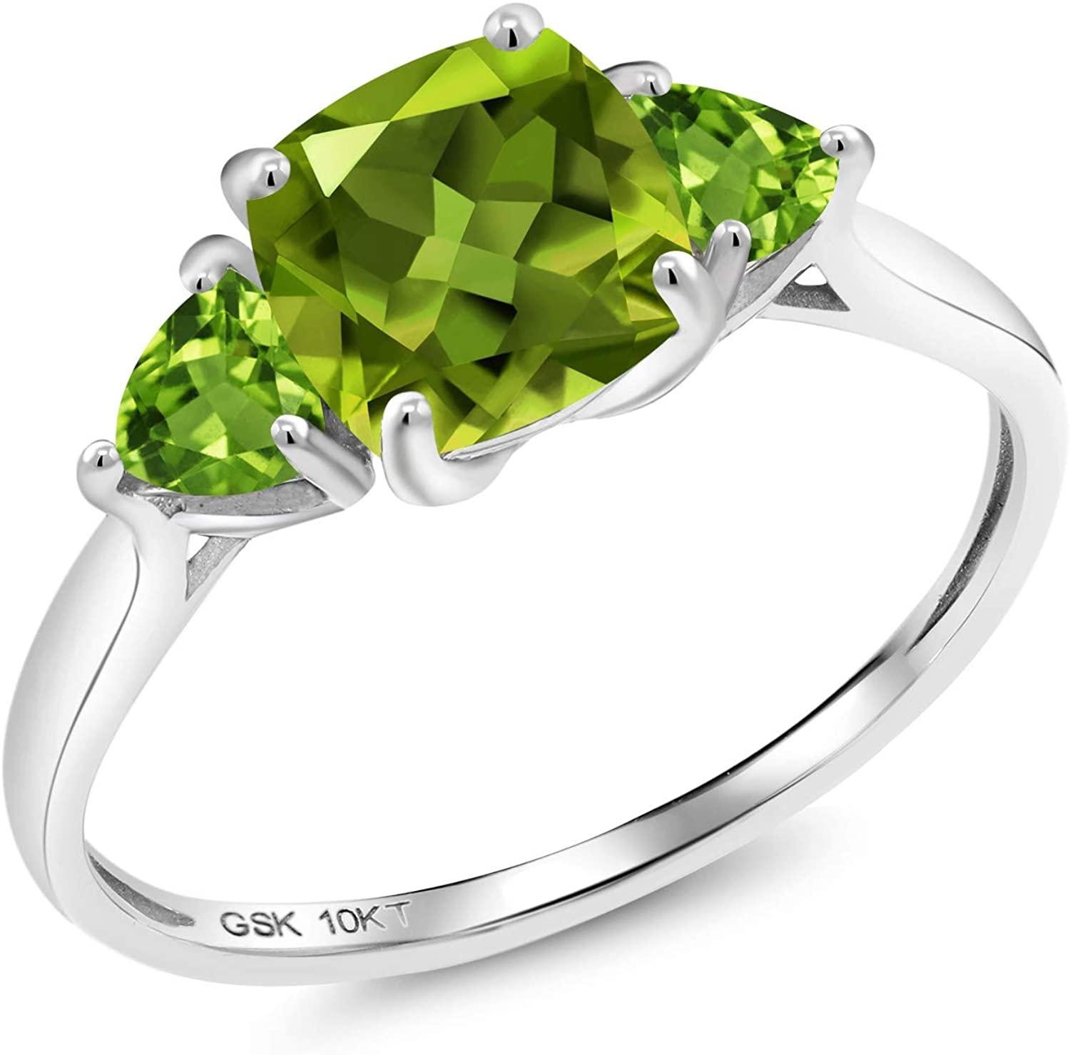Gem Stone King 10K White Gold Green Peridot 3 Stone Meghan Engagement Ring (2.22 Ct Cushion Cut, Available in size 5, 6, 7, 8, 9)