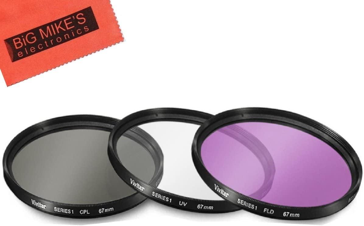 67mm Multi-Coated 3 Piece Filter Kit (UV-CPL-FLD) for Canon Rebel T6i, T6s, T7i, EOS 80D, EOS 77D Cameras with Canon EF-S 18-135mm is STM Lens