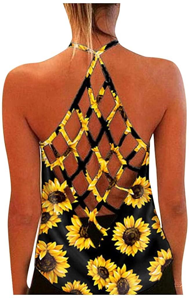 diamon·d Sleeveless Tank Tops for Women's Summer Sunflower Print Backless Hollow-Out Blouse Vest Fashion Halter Tops