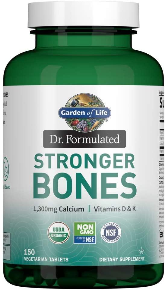 Garden of Life Dr. Formulated Stronger Bones, Organic Calcium Supplement with Vitamin D & Vitamin K for Bone Health, Bone Strength, Osteoporosis Supplements for Women & Men, 150 Vegetarian Tablets