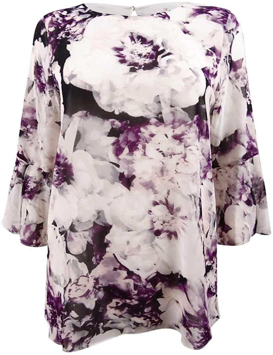 Calvin Klein Womens Bell Sleeve Peplum Blouse