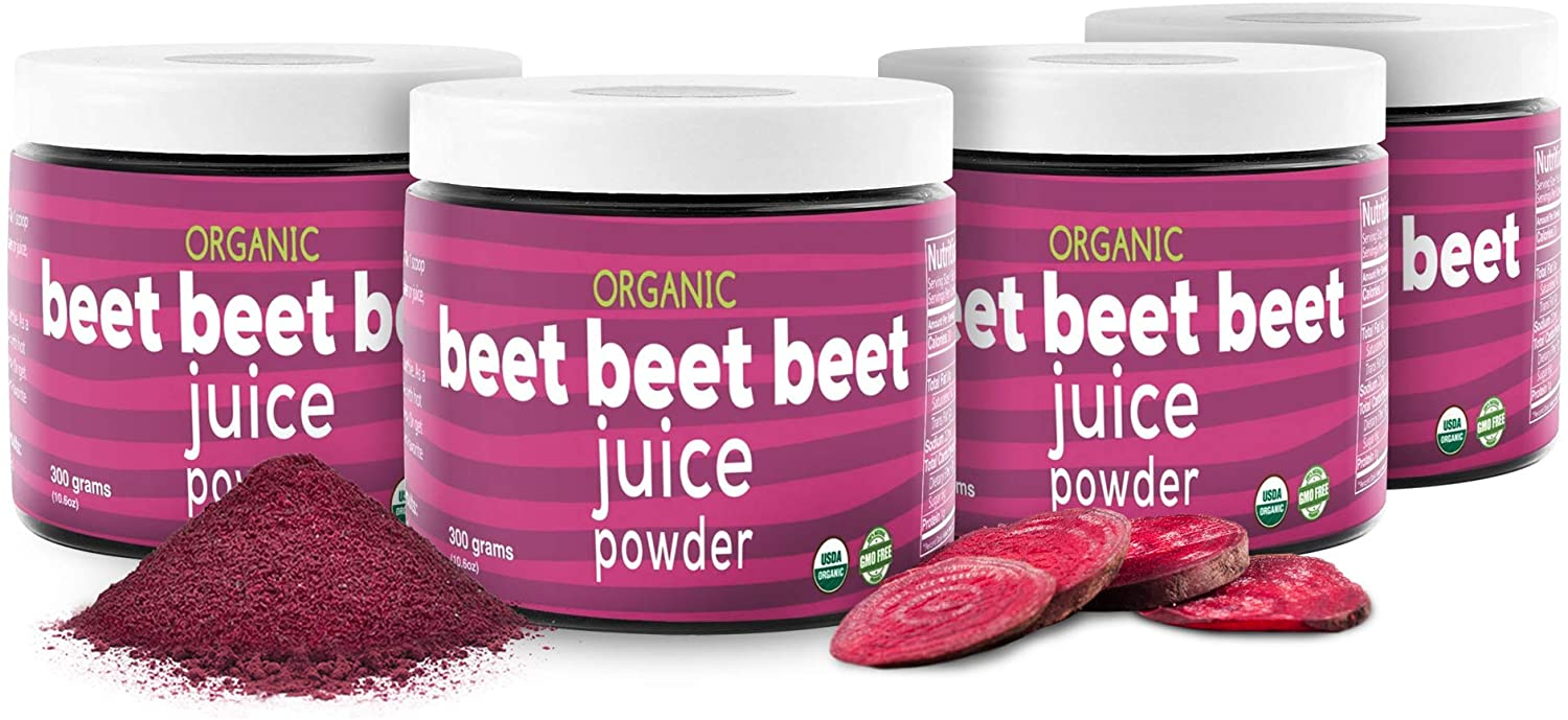 Beet Beet Beet - Solid Beet Powder | Super Concentrated Needs Rehydration | Supports Healthy Blood Pressure, Cholesterol Levels - SuperFood Supplement with Nitric-Oxide-Boosting Nutrients - 4 Jars