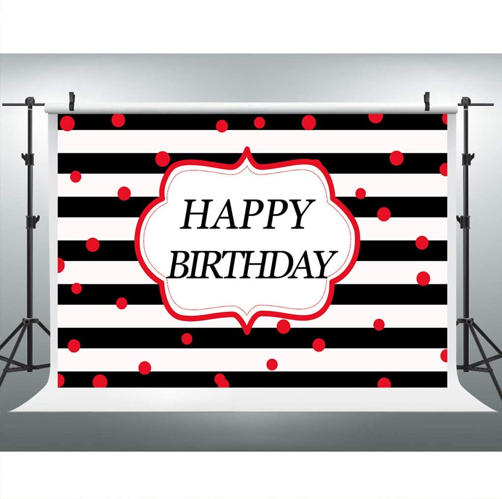 Red Dots Birthday Backdrop for Photography, 9x6FT Backdrop, Black White Stripes Birthday Backgrounds, Great for Children Baby Adults Birthday Party LYLU159