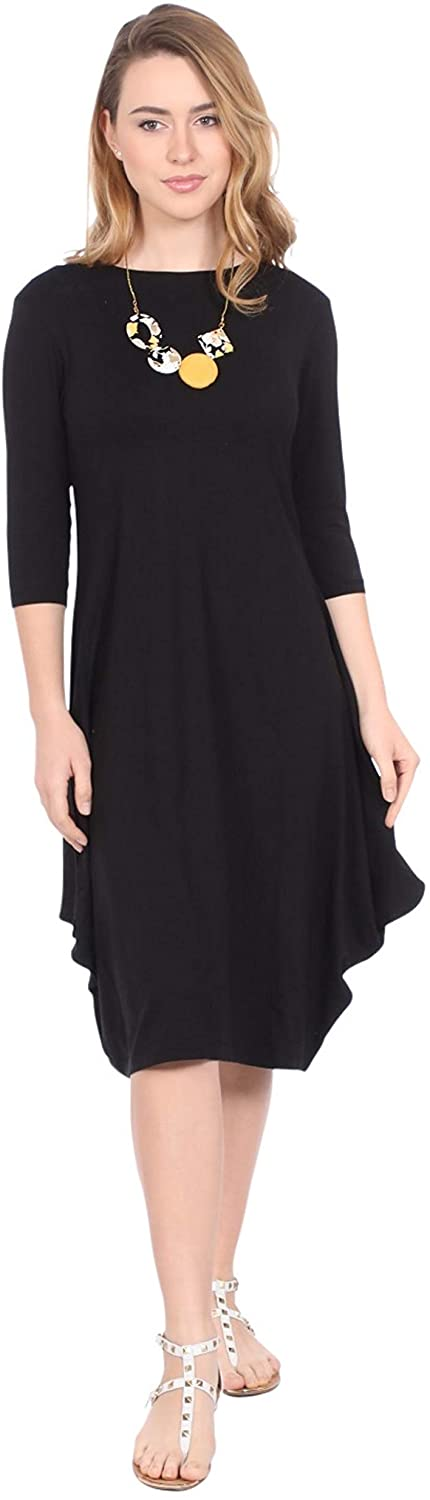 Kosher Casual Womens Modest Casual 3-4 Sleeve Flare and Drape Jersey Shift Midi Dress XL Black