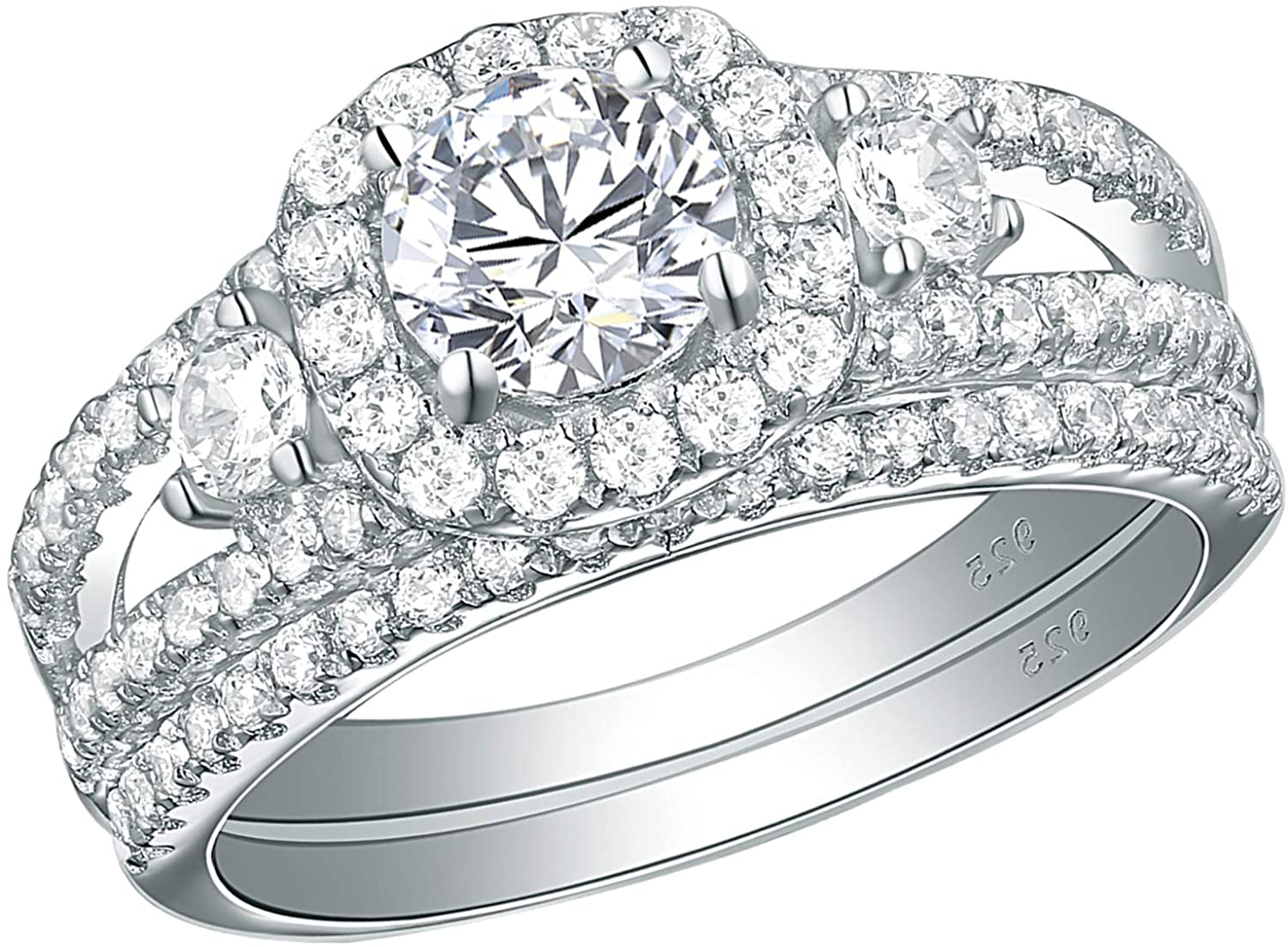 Newshe Engagement Rings for Women Size 8 10 Wedding Bands Cubic Zirconia Ring Sterling Silver Round
