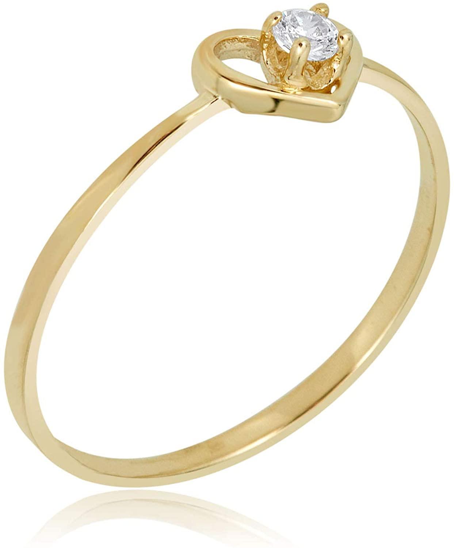 AVORA 10K Yellow Gold Simulated Diamond CZ Open Heart Ring
