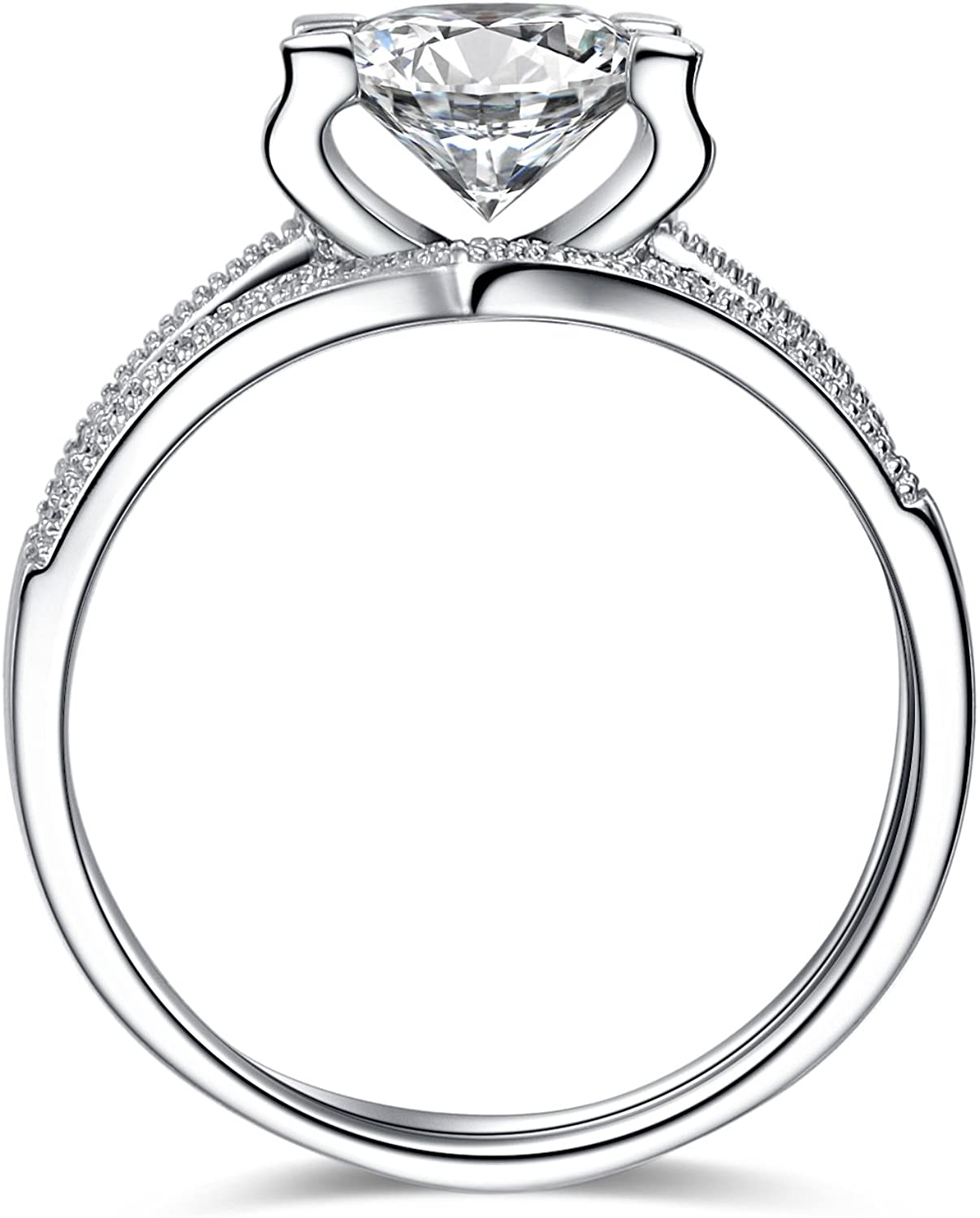 VIKI LYNN Engagement Rings for Women 1ct Cubic Zirconia Sterling Silver Ring