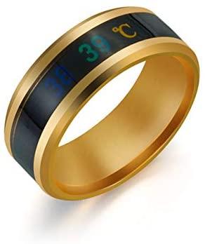 QHY Black/Blue/Silver/Golden Temperature Measurement Ring Intelligent Temperature Sensing Change Jewelry Men and Women Jewelry Ring,Temperature Measurement Wedding Band Polished Comfort Fit