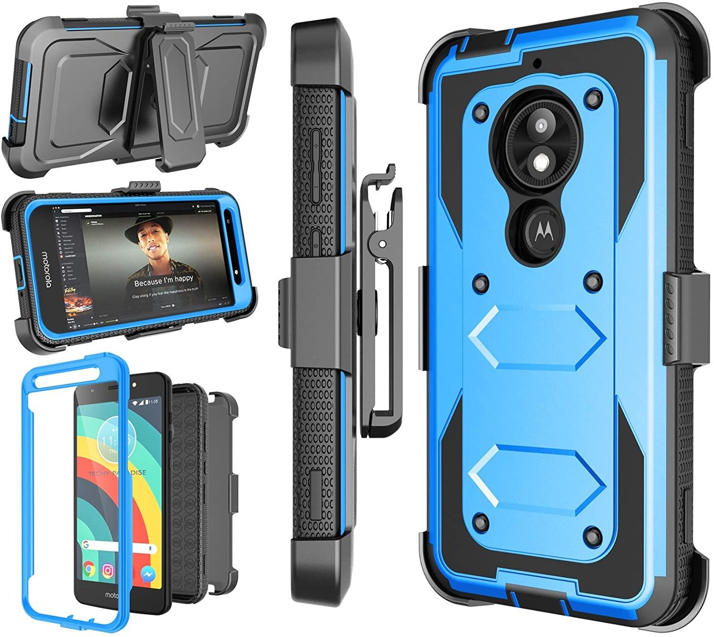 Motorola Moto E5 Play Case, Moto E5 Cruise/Moto E5 GO Holster Clip, [Nbeck] Shockproof Heavy Duty Built-in Screen Protector Rugged Locking Swivel Belt Clip Kickstand Hard Shell Phone Cover [Blue]