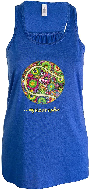 Tennis Addiction - My Happy Place - Ladies Women's Hippy Tennis Ball Tank