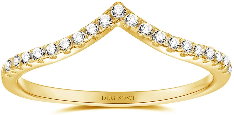 DUGISOWE 10K 14K 18K Gold Engagement Ring 0.4 Carat(Ctw) Moissanite White Gold Ring Wedding Rings for Women Size 4-12, Free Personalized Engraving Name