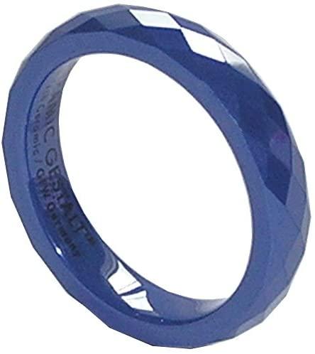 CERAMIC GESTALT Blue Ceramic Ring 4mm Width. Faceted Design. (Avail. Sizes 5 to 14).