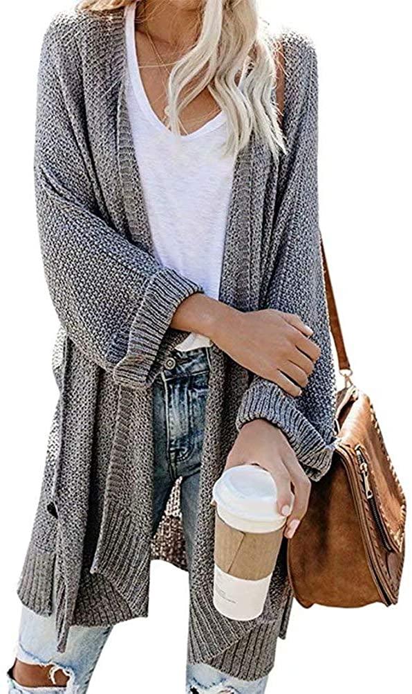 Slvofictty Womens Kimono Cardigan Sweaters Open Front Long Sleeve Boho Loose Knit Shawl Drape Coats