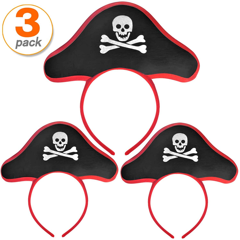 FOBU 3 Pack Pirate Headband Pirate Hat Headband Costume Cap Halloween Masquerade Cosplay Accessories Props Red Black