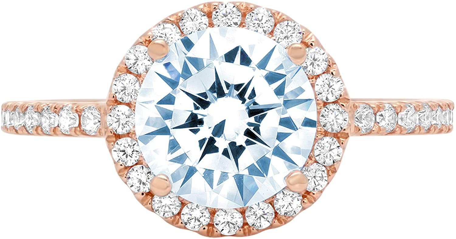 1.82ct Brilliant Round Cut Solitaire halo Natural Sky Blue Topaz Gem Stone VVS1 Designer Modern Statement with accent Ring Real Solid 14k Rose Gold Clara Pucci