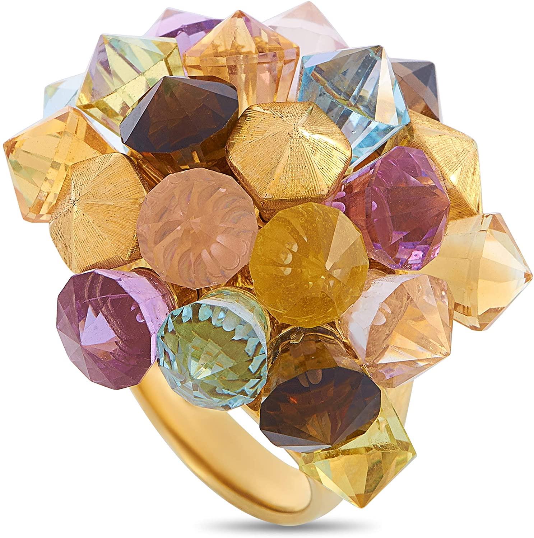 Luxury Bazaar 18K Yellow Gold Citrine, Peridot, Topaz and Amethyst Ring