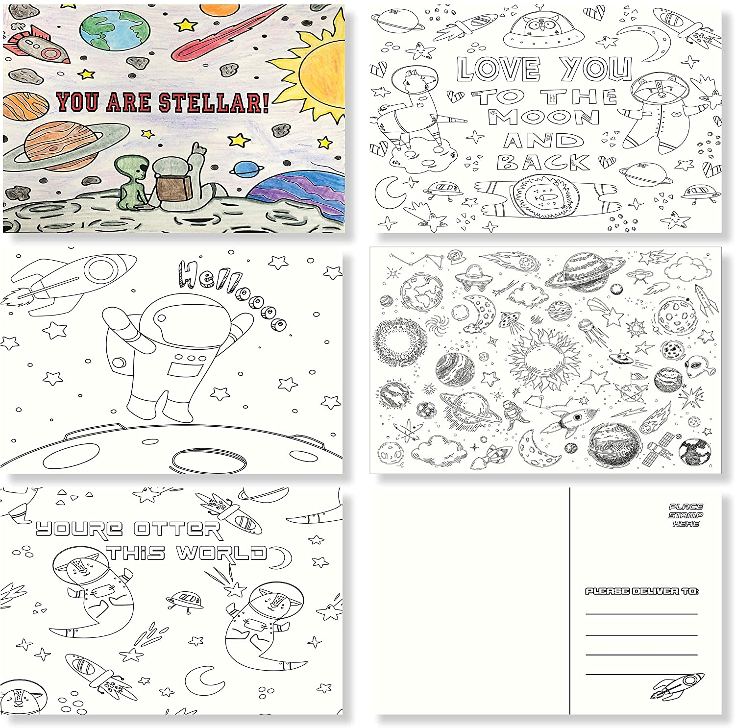 Colorable Postcards for Kids or Teaches- Bulk Assortment Value Pack – Variety of Blank 4x6 cards to say Miss You, Thinking of you, Hello to Family, Friends, Teachers, and Students (Space, 25)