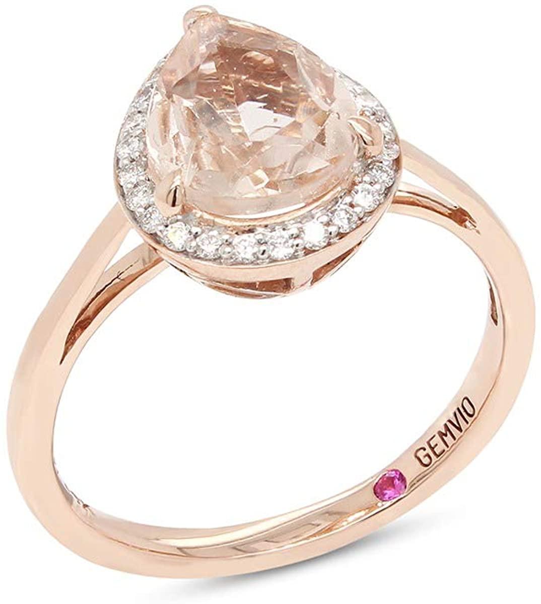 GEMVIO Collection Blush Pear Cut 7X9MM Morganite Teardrop Halo Solitaire Gemstone & Diamond in 14k Gold Engagement Promise Statement Anniversary Wedding Ring