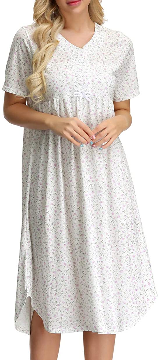 Womens Cotton Nightgown Button Front Floral Shirt for Sleep Nightdress with Bow