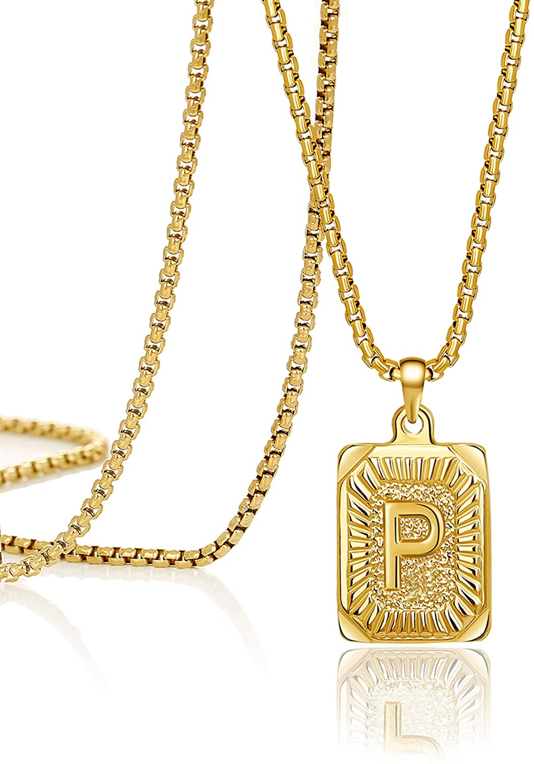Joycuff 18K Gold Filled Initial Letter Pendant Necklace Square Alphabet Rectangle Medallion Personalized Handmade Stainless Steel Simple Jewelry Gifts for Women Men Teenage Girls Best Friend Mom Dad