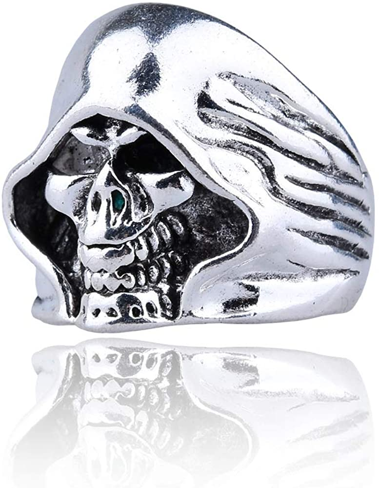 WENGZHU Death Ring Men's Large Vintage Biker Gothic Casted Grim Reaper Skull Stainless Steel Punk Ring Silver Black