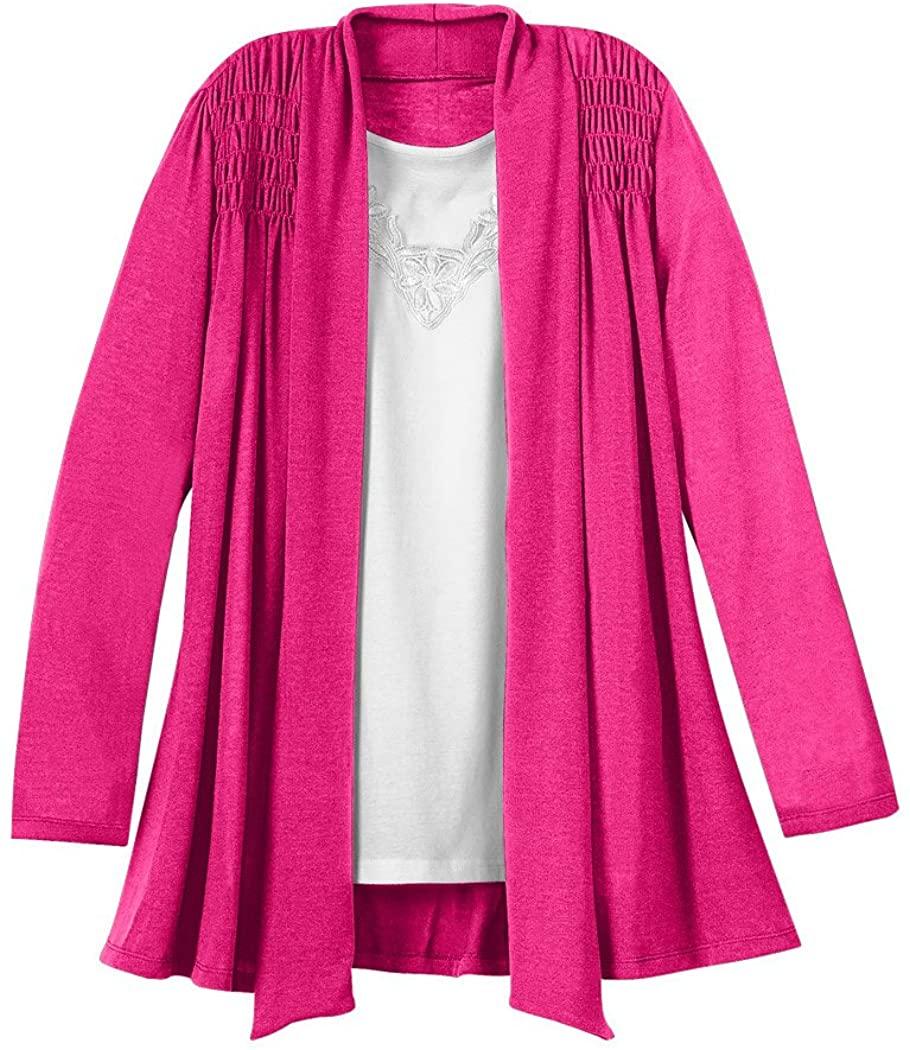 AmeriMark Women's Long Cardigan Sweater Open Flyaway Front and Shoulder Smocking