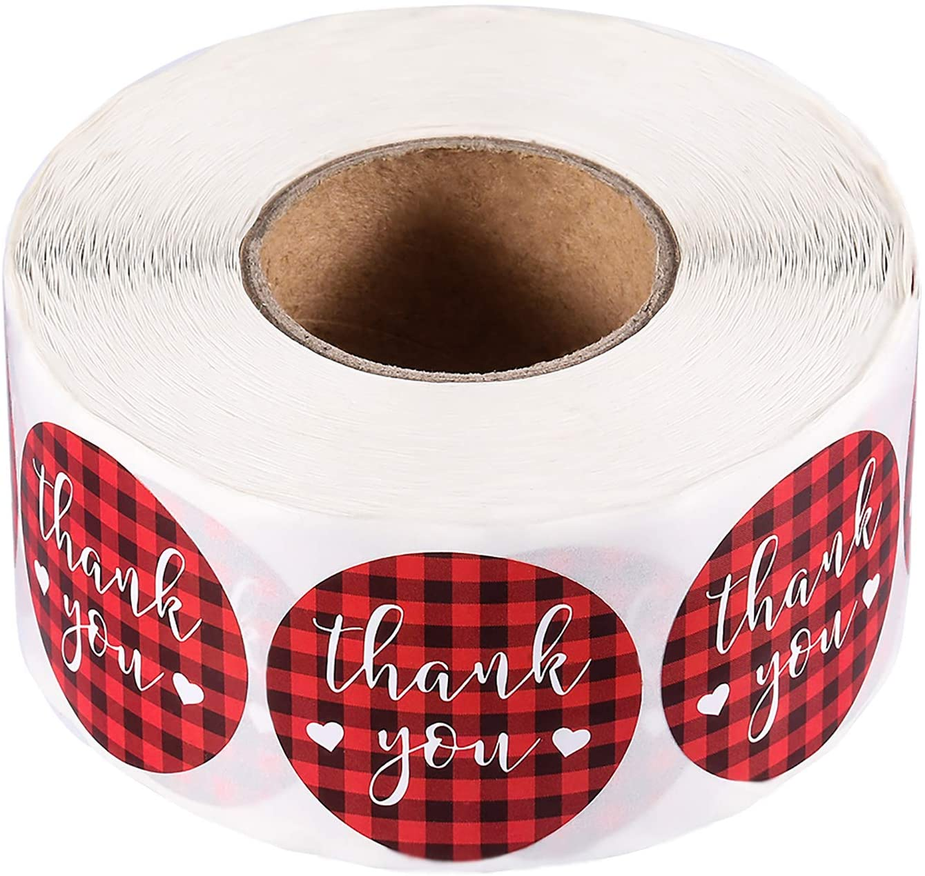 Thank You Stickers Labels Roll, 1000 Pieces 1.5 Inch Buffalo Plaid Self Adhesive Thank You Labels for Gifts, Thank You Cards, Envelopes, Mailing Bags,Wedding, Party, Baby Shower