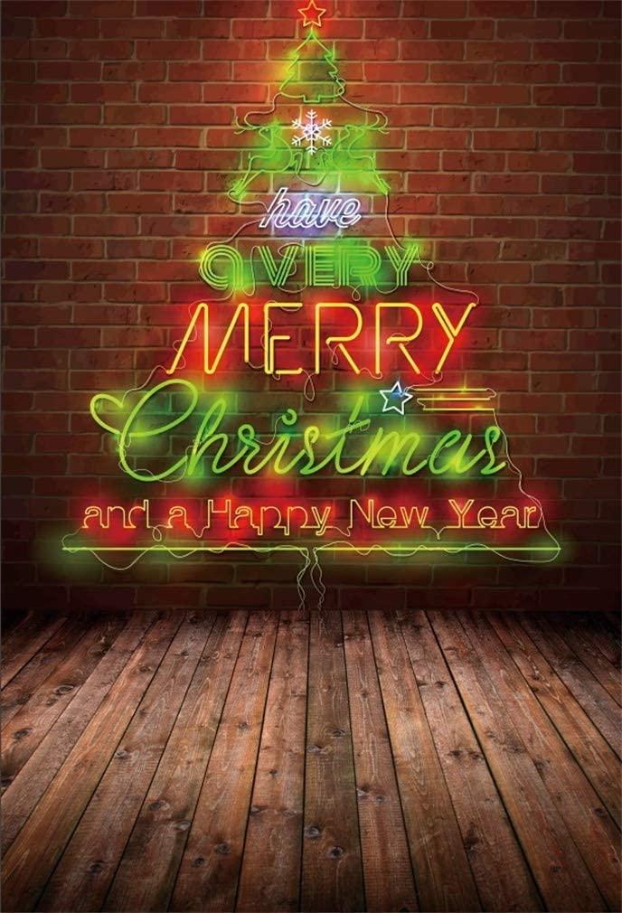 Yeele 6x9ft Merry Xmas Backdrop for Photography Happ New Year Party Background Christmas Tree Lights Brick Wall Wooden Floor Kid Boy Portrait Photo Booth Shoot Vinyl Studio Props