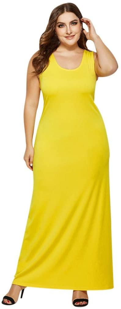 Buedvo Women Sleeveless Knit Sexy Round Neck Solid Color Loose Plain Dresses Casual Long Dresses