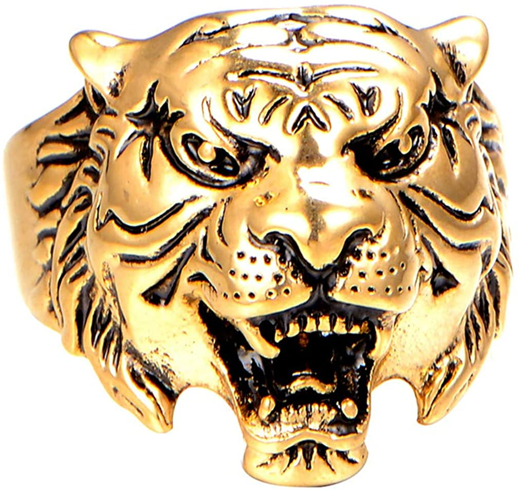 PAMTIER Men's Stainless Steel Vintage Gothic Biker Tiger Head Ring Band Animal Design