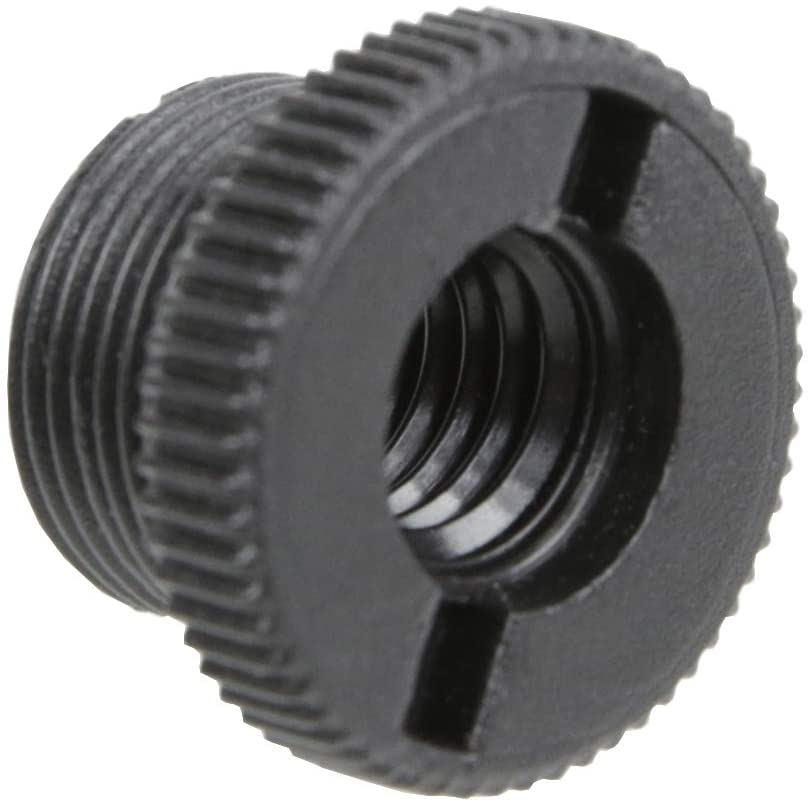 Foto&Tech 5/8-Inch Male to 3/8-Inch Female Mic Screw Thread Adapter Black Plastic Microphone Screw Thread Adapter for Mic Microphone Stand Accessories