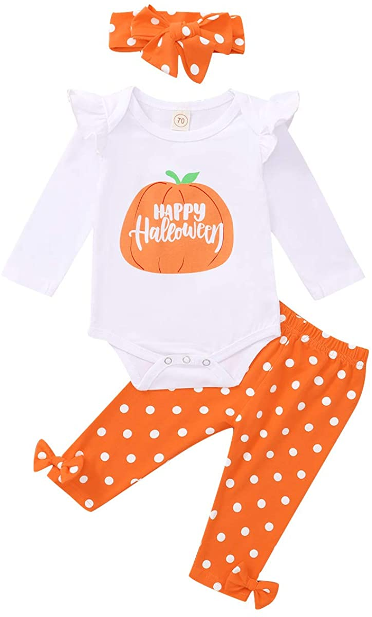 Newborn Baby Girl Halloween Thanksgiving Outfits Ruffle Romper + Pant + Headband 3PCS Clothes Set
