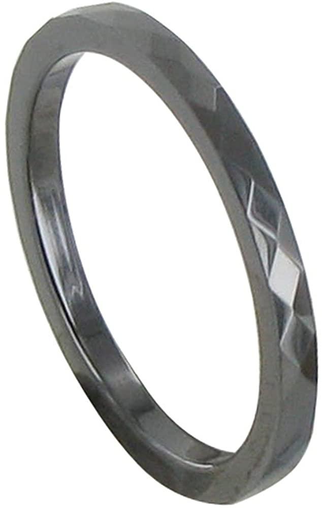 Les Poulettes Jewels - Black Ceramic Ring Facetted - 2 mm