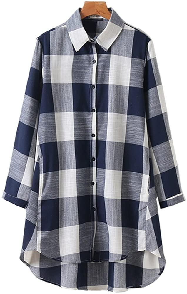 HOOBEE LINEN Women's Roll Up Sleeve High-Low Hem Plaid Shirt Top with Pockets