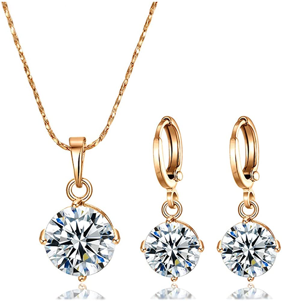 18K Gold Plated Jewelry Set for Women Girls Cubic Zirconia Pendant Necklace and Dangle Earrings Sets Hypoallergenic CZ Bridal Wedding Gifts for Her