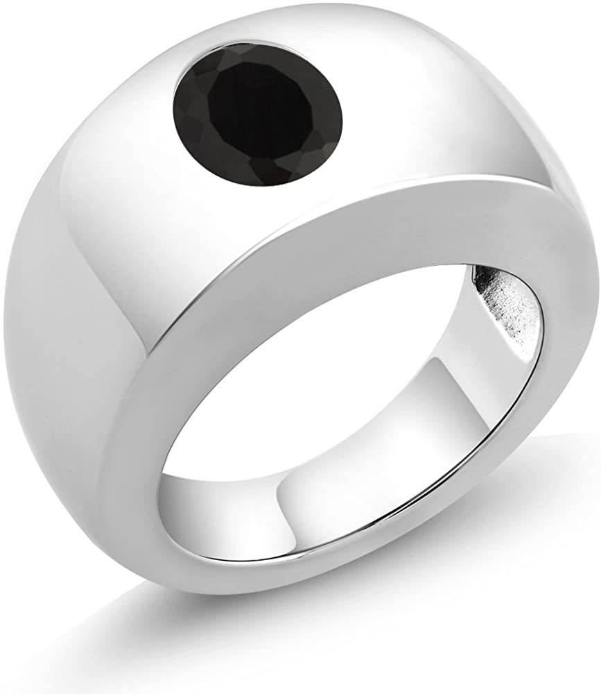 Gem Stone King Sterling Silver Oval Black AAA Onyx Men's Solitaire Ring 2.00 cttw (Available 7,8,9,10,11,12,13)