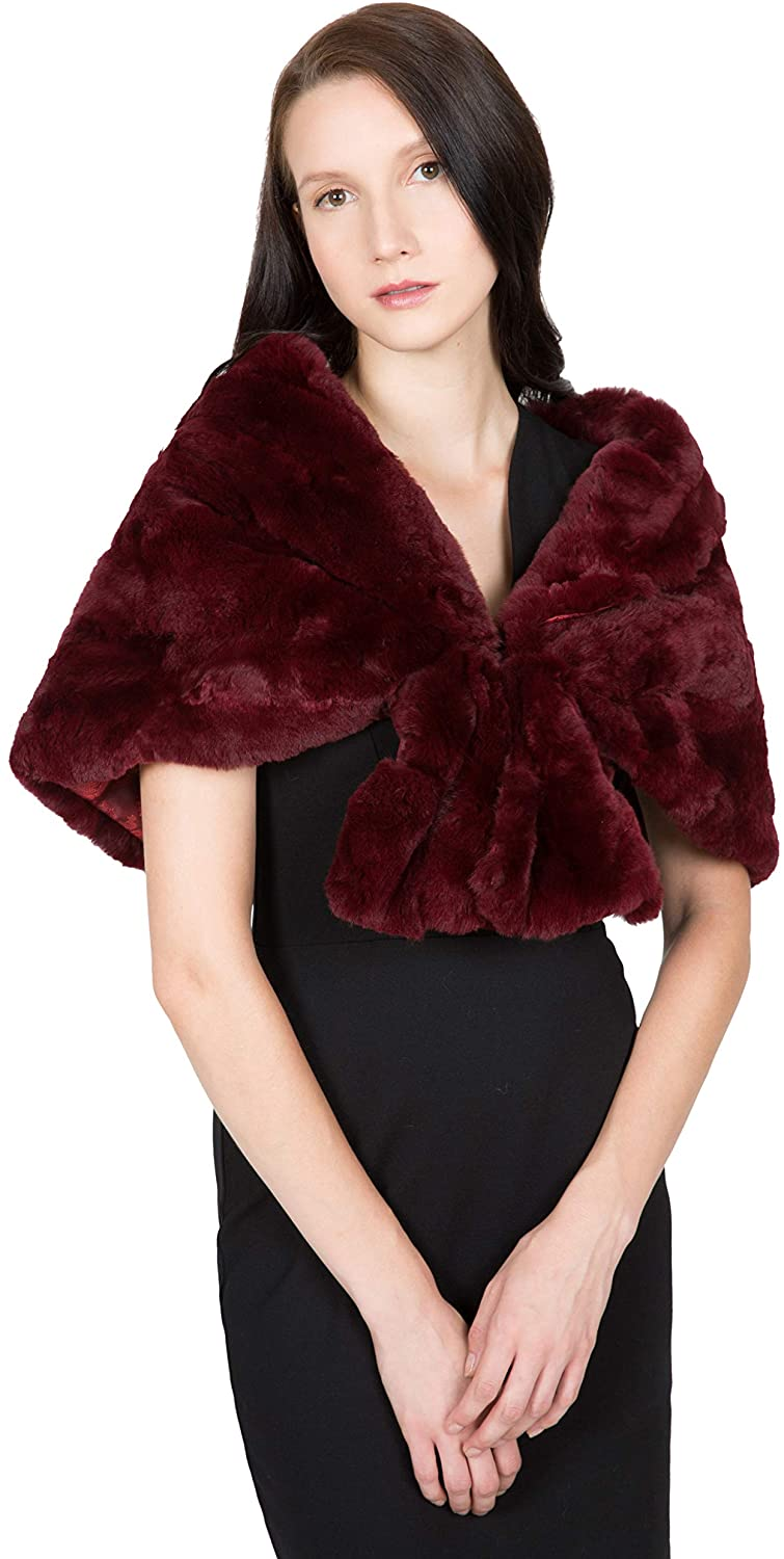 OBURLA Women's Real Rex Rabbit Fur Cape with Collar | Soft and Luxurious Genuine Fur Shawl Wrap Stole