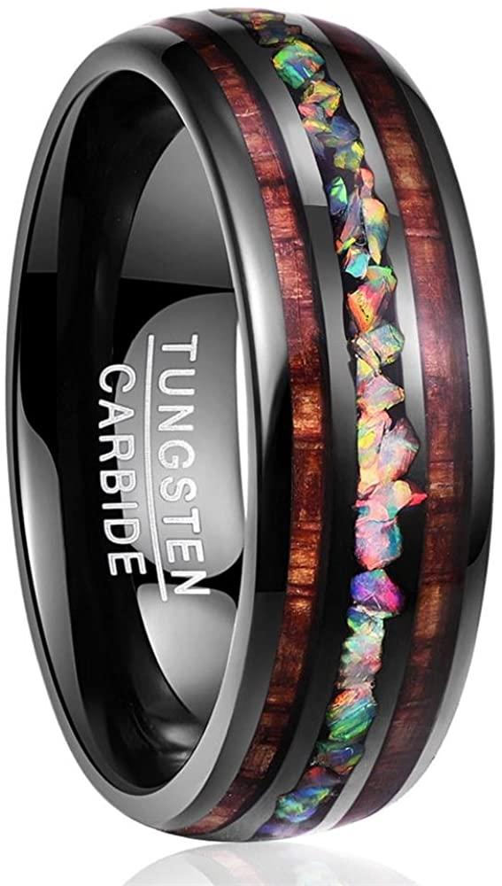 NUNCAD Handmade Fire Opal Tungsten Wedding Ring with Hawaii Koa Wood Domed Black Tungsten for Men Women Sets Size 5-14
