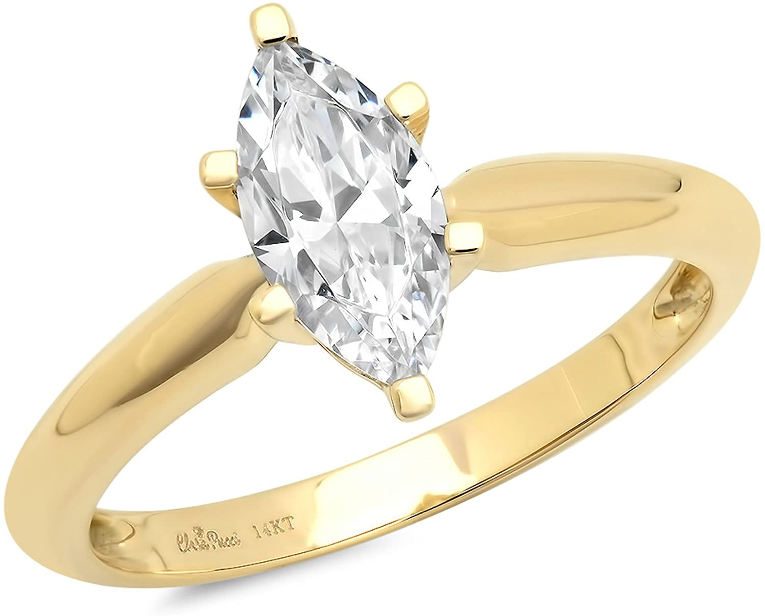 1.0 CT Marquise Brilliant Cut Simulated Diamond CZ Solitaire Engagement Wedding Ring 14k Yellow Gold