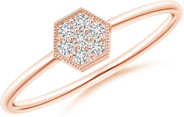 Hexagon-Shaped Diamond Cluster Ring with Milgrain in 14K Rose Gold (1.5mm Diamond)