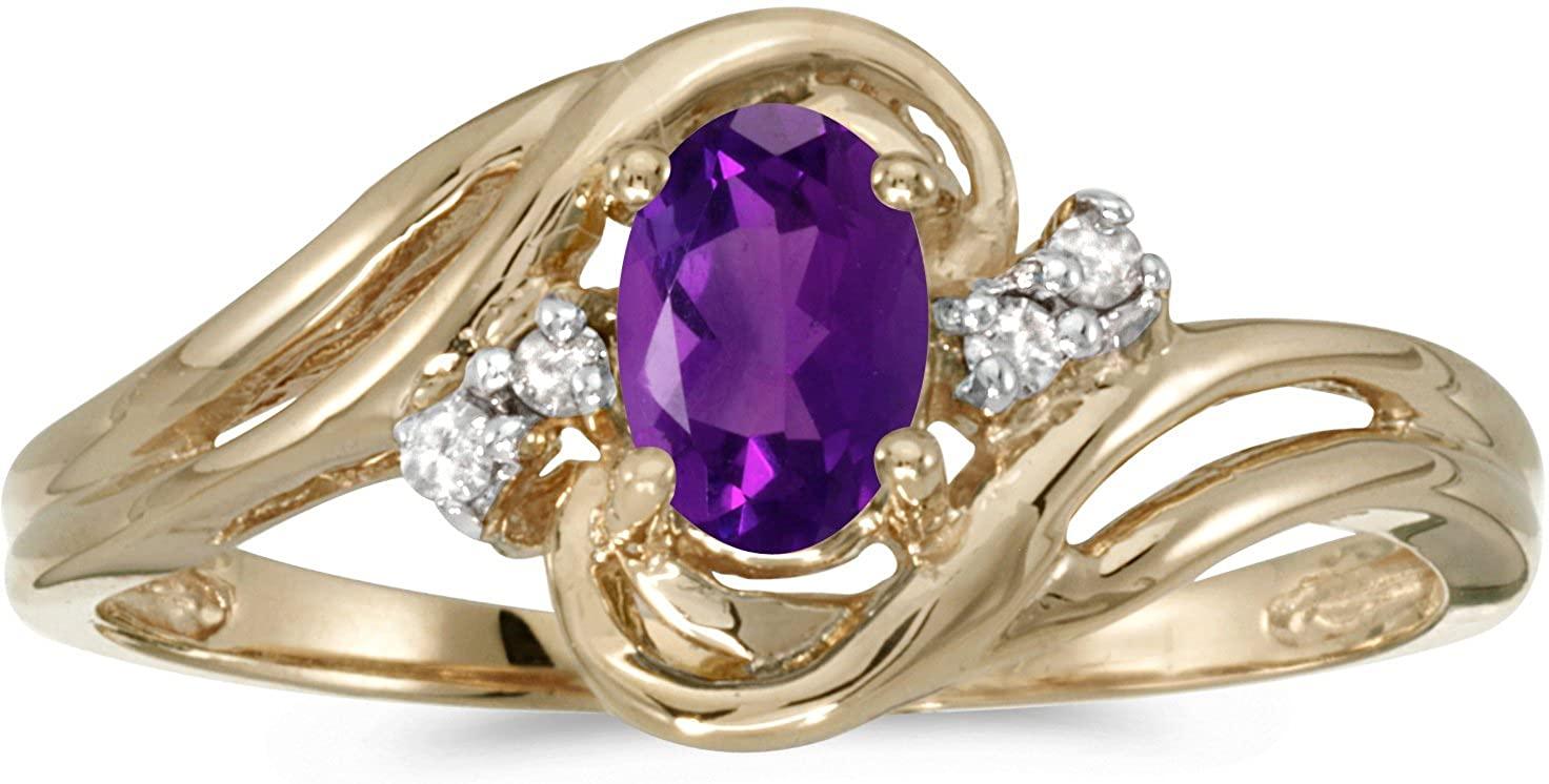 BillyTheTree Jewelry 14k Yellow Gold Oval Amethyst and Diamond Ring
