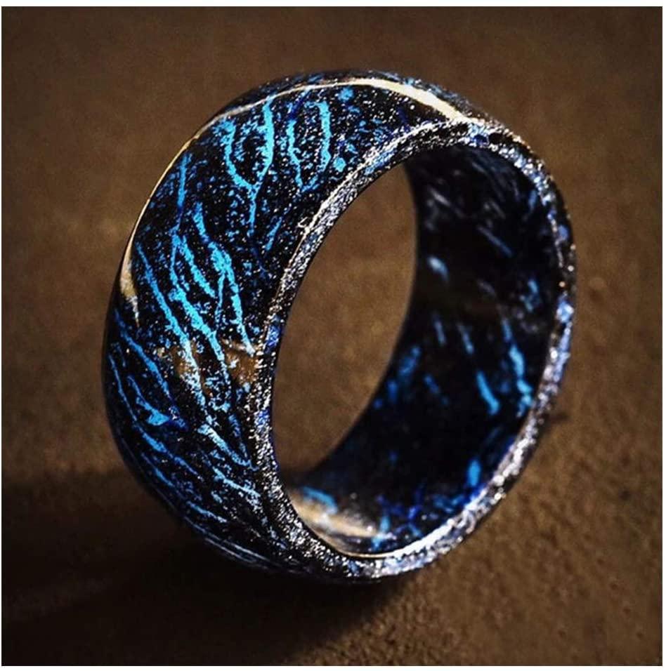 Flykee Luminous Glow Ring Glowing in The Dark Jewelry Unisex Decoration for Women Men (Black,10)